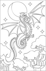 Page with black and white drawing of dragon for coloring. Developing children skills for drawing. Vector image.