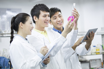 College students doing experiment