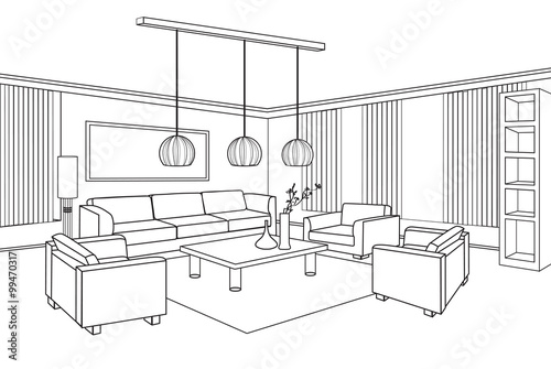 Good Living Room Furniture Interior. Editable Vector Illustration Of An Outline  Sketch Of A Interior.