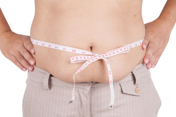 fat woman measuring her stomach on white background