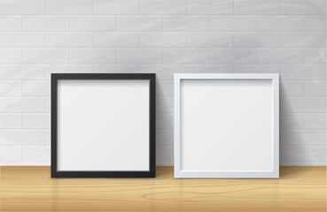 Realistic White and Black Blank Picture Square frame, standing o