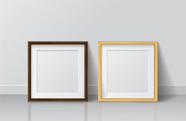 Realistic Light Wood and Dark Wood Blank Picture frame, standing