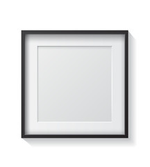 Realistic Square Black Blank Picture frame, hanging on a White W