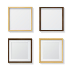 Set of Realistic Light Wood Blank Picture Frames and  Dark Wood