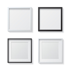 Set of White Blank Picture Frames and Black Blank Picture Frames