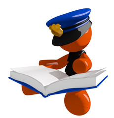 Orange Man Police Officer Sitting Reading Big Book