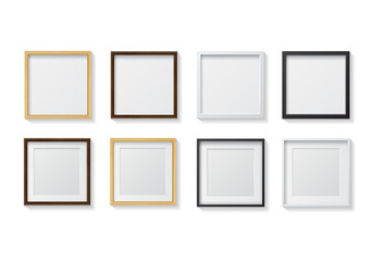 Set of Realistic Light Wood Blank Picture Frames and Dark Wood B