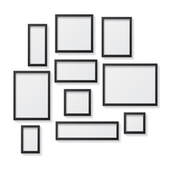 Set of Black Blank Picture Frames, hanging on a White Wall from