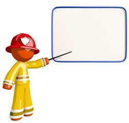 Orange Man Fireman Educating with Dry-Erase Board