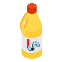 Yellow container of drain cleaner