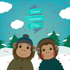 Valentines day card with romantic couple monkeys.Vector illustration