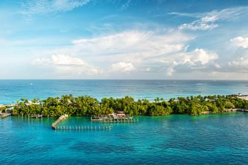 Turquoise sea water blue sky. Landscape Caribbean sea