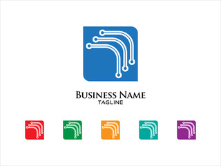 Square Technology Logo Vector Icon Set