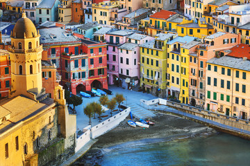 Vernazza village, church and buildings aerial view. Cinque Terre