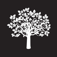 White Tree. Vector Illustration.