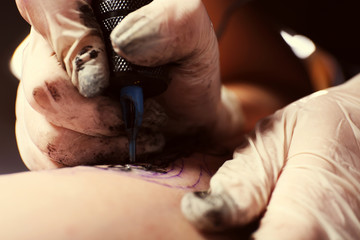 Process of making tattoo close-up