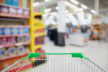 shopping cart in department store blurred with bokeh background