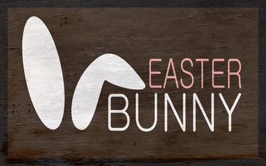 easter bunny design with bunny ears on wood grain texture