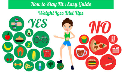 Infongraphic How to Stay Fit Easy Guide Weight Loss Diet Tips Illustration with a Skinny and Fit Girl