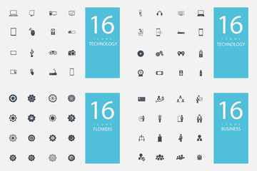 stylish set of 4 themes and icons