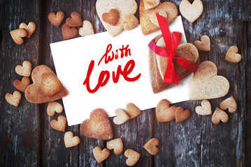 Message With Love on Letter and Gingerbread Cookies
