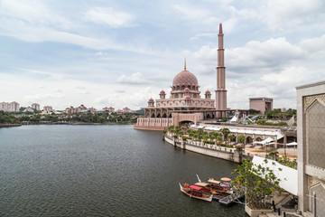 Putra Mosque on the bank of Putrajaya Lake in  Putrajaya
