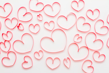 Valentine's day background with hearts on white background.
