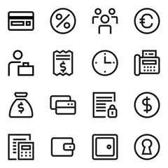Finance and banking line icon set.