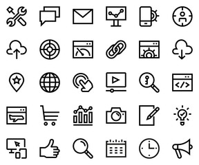 Search engine optimization line icon set