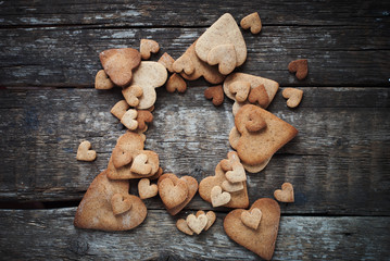 Card with Gingerbread Cookies in Shape of Heart