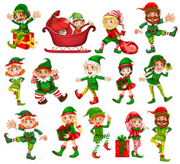 Christmas elf in different positions
