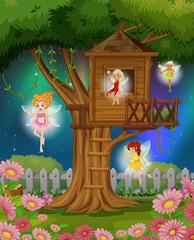 Fairies flying in the garden