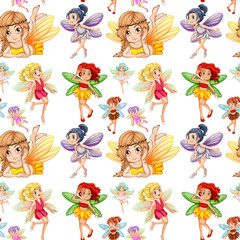 Seamless fairies in different positions