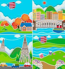 Four scenes of city and countryside