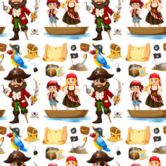 Seamless pirate and treassure