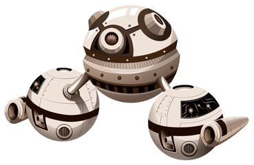 Round spaceship with engine
