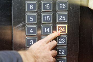 24 (twenty four) floor elevator button with light and pushing finger