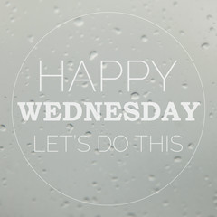Good morning Wednesday with water drops background with copy spa