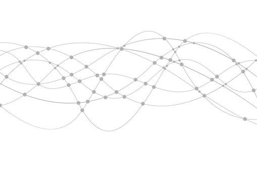 Geometric tech wavy lines vector background
