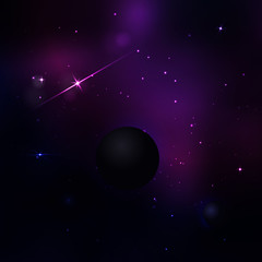 Dark purple and blue space with many stars and light. Vector mag