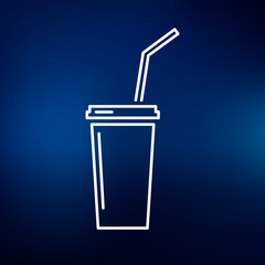 Softdrink icon. Cooldrink sign. Soda symbol. Thin line icon on blue background. Vector illustration.