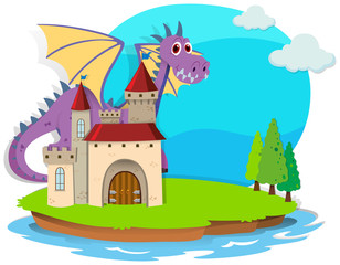 Castle and dragon on the island