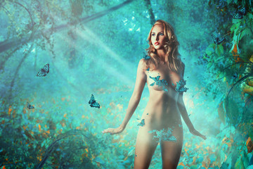 Sexual slim adult woman with butterflies