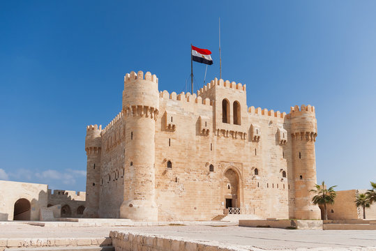 Citadel of Qaitbay fortress and its main entrance yard, Alexandria, Egypt.