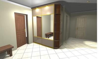 3D rendering interior design wardrobe in the corridor