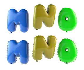 Alphabet Ballons 3d render - Font Colorful M, N, O