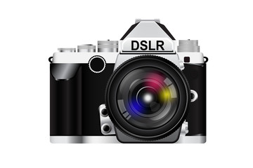 camera body and colorful lens. vector illustration.