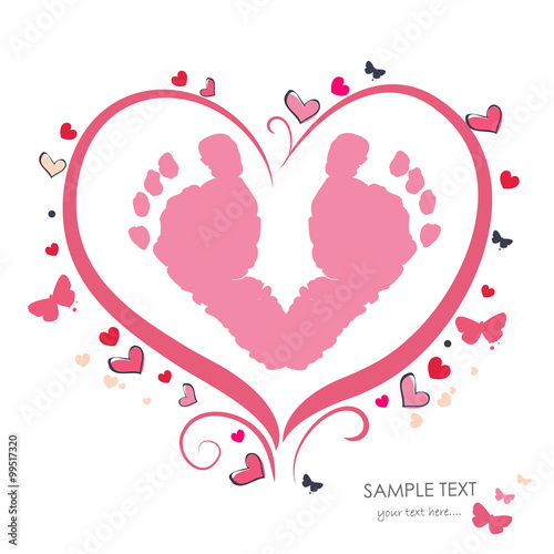 Baby foot prints with heart baby shower greeting card stock photo baby foot prints with heart baby shower greeting card m4hsunfo