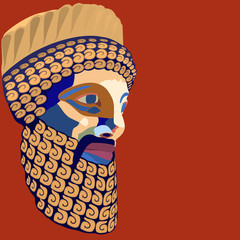 Vector portrait of the ancient king of stylized mosaic