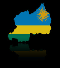 Rwanda map flag with reflection illustration